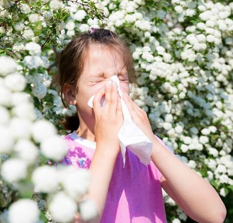 Young girl with allergies
